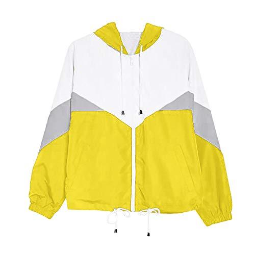 VEMOW Herbst Winter Damen Frauen Langarm Patchwork Dünne Skins Suits mit Kapuze Reißverschluss Taschen Casual Täglichen Freien Sport Mantel(Z4-Gelb, EU-40/CN-M) (Warme Coat Down Kurze)