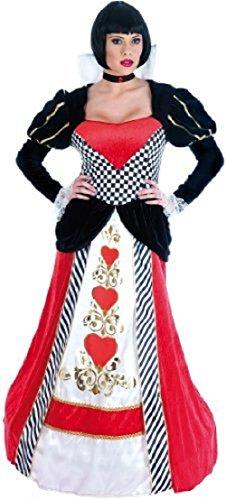 Fancy Me Damen Deluxe Königin der Herzen Alice im Wunderland lang Länge Geringelt Saum Halloween büchertag Märchen Kostüm Kleid Outfit UK 6-26 Übergröße - Rot/schwarz, UK (Königin Der Herzen Alice)