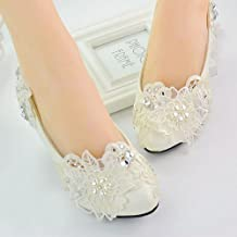 JINGXINSTORE Dama blanca hecha a mano con motivos florales de encaje de novia boda Dama zapato plano Tacón Alto ,UK5/EU38/US7/AU7
