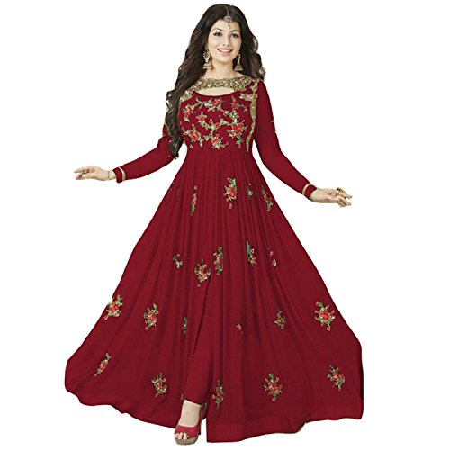 Clothfab Women Georgette Heavy Embroidery Work Pary Wear Anarkali Style Semi-Stitched Salwar Suit Dress Material With Dupatta (Red-Colour)