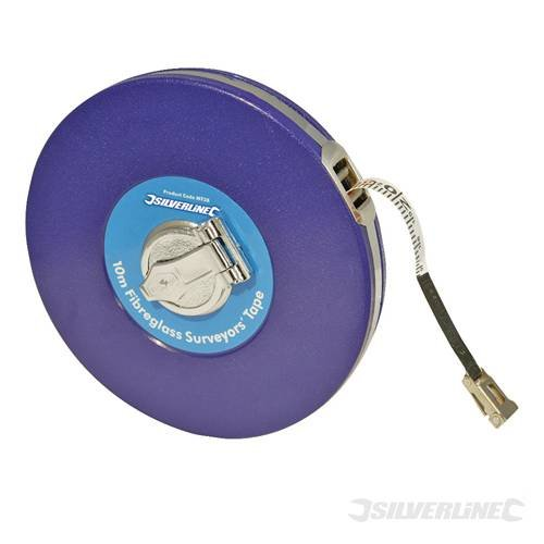 Measuring Long Tapes Fibreglass Surveyors Tape 10 meter 10m Durable, vinyl-coated steel casing and 12mm wide fibreglass tape coated with PVC for durability and easy cleaning. Folding metal claw and handle. Impervious to water, crease-resistant and marked with metric and imperial graduations. by SILVERL -