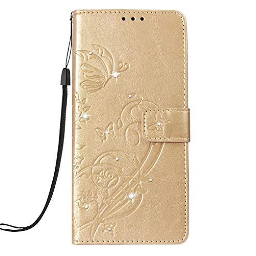 Kakiyi Ersatz für Samsung Galaxy A6 2018 Dustaproof PU-Leder-Schlag-Fall-Mappen-Strass-Telefon-Abdeckung Kartenhalter - Kartenhalter Telefon-abdeckung