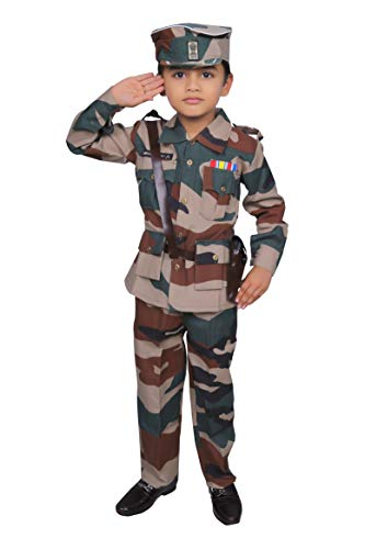 Wishing Rack Military Army Fancy Dress Costume for Kids 7-8 Years, Community Worker Costume