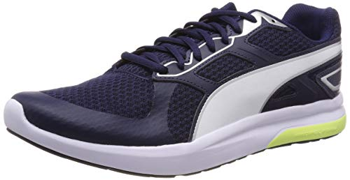 Puma Escaper Tech Scarpe da fitness Unisex - Adulto, Blu (Peacoat-Silver-Puma White-Fizzy Yellow), 40.5 EU (7 UK)