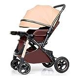 Quattro Rounds Passeggino può sedersi e sdraiarsi telaio in alluminio Toddler Sedile a due vie carrozzina pieghevole passeggino adatto per 0-5 anni (marrone)