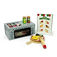 AM Leg Wooden toy pizzeria - Includes: Oven, Pizza, Ingredients, Accessories, - Wooden Toy + 3 years