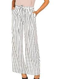Elegantes Moda Pantalones De Playa Mujer Primavera Verano Rayas Verticales  Fiesta Estilo Cintura Alta con Cinturón 62dedb7815e8