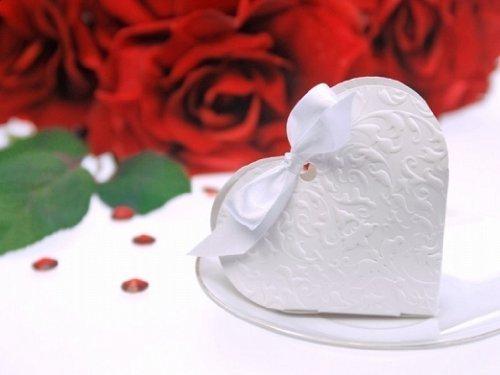 Irpot - 20 scatoline portaconfetti cuore bianco pudp10 gift box segnaposto