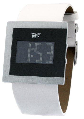 Davis 1196 - Reloj digital de mujer de cuarzo con correa de acero inoxidable negra