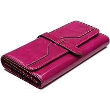 Yaluxe Moda Portafoglio in Vera Pelle Lungo Piegatura grande Capacità lusso RFID Blocco di scudo contro il furto di identità