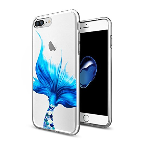 "Hülle für Apple iPhone 7 Plus , IJIA Transparente Blau Mermaid Schwanz TPU Weich Silikon Stoßkasten Hülle Handyhülle Schutzhülle Handyhüllen Schale Case Handytasche für Apple iPhone 7 Plus (5.5"") WM93"