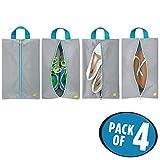 mDesign sac de rangement chaussures (lot de 4) – sac de voyage en polyester pour chaussures – sac de sport pour cosmétiques ou pour la plage – gris/turquoise/blanc
