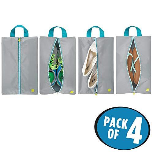 mDesign 4er-Set Schuhbeutel - leichte Reisetasche für Schuhe - vielseitige Tasche für Sport, Kosmetik und Strand - grau/türkis/weiß