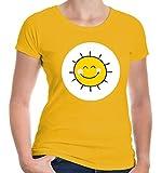 buXsbaum® Damen Girlie T-Shirt Plüschbärchen Sonne Kostüm | L, Gelb