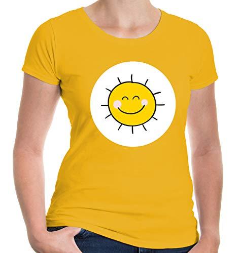 Kostüm Sonne - buXsbaum® Damen Girlie T-Shirt Plüschbärchen Sonne Kostüm | M, Gelb