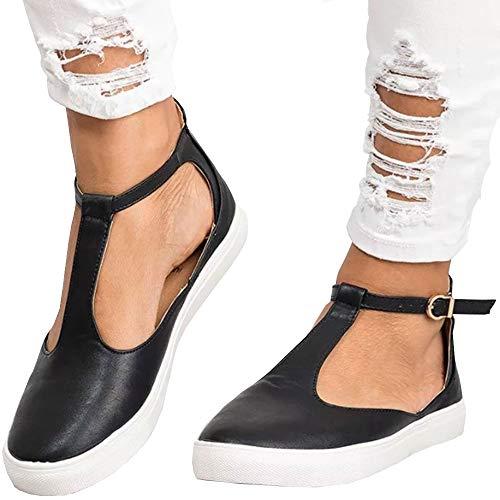 mer Einzel Schuhe Flach Schnalle Gurt Sommerschuhe Walking Sneakers Strand Flip Flops Roman Sandalen Dicke Elegant Shoes Anti Rutsch Hausschuhe Party Sport ()