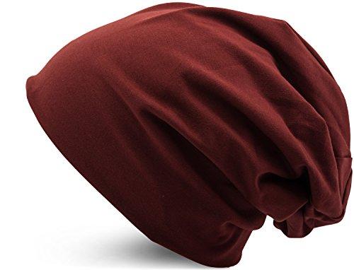 Jersey Baumwolle elastisches Long Slouch Beanie Unisex Mütze Heather in 35 verschiedenen Farben (3) (Brown) (Long Beanie)