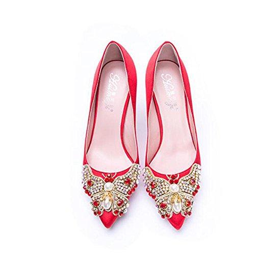L@YC® Femmes Talons Hauts Fin avec Diamants 8cm Sandales Pointues En Satiné Danse Bureautique red