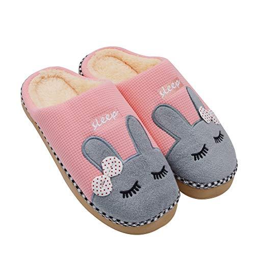 Sporzin Winter Baumwolle Pantoffeln Damen Herren Flauschige Hausschuhe und Plüsch Warme Hausschuhe Geeignet für Indoor Outdoor, Pink, 38-39 -