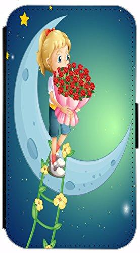FioMi Flip Cover Schutz Hülle Handy Tasche Etui Case für (Apple iPhone 5 / 5s, 735 Schildkröte Blau Gelb) 731 Mädchen mit Rosen auf Mond Cartoon