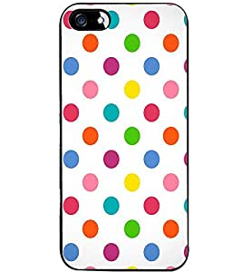 Fuson Premium Colorful Circles Metal Printed with Hard Plastic Back Case Cover for Apple iPhone 4 4S