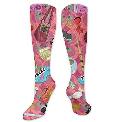 Cartoon Art Pattern Polyester Cotton Over Knee Leg High Socken Coolest Unisex Thigh Stockings Cosplay Boot Long Tube Socken for Sports Gym Yoga Hiking Cycling Running Nurses