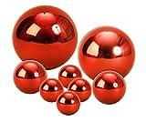 Geschenkestadl 8 Dekokugel Set Rot Ø 15cm Ø 10cm Ø 6cm Ø 4 cm Edelstahl Kugel Weihnachten