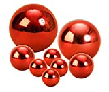 8 er Set Dekokugel Rosenkugel in Rot ca. Ø 15cm, Ø 10cm, Ø 6cm und Ø cm Edelstahl Kugel Schwimmkugel Weihnachten