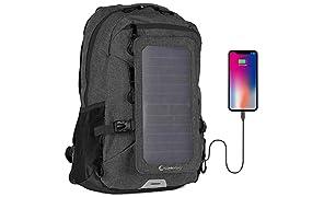 SunnyBAG Explorer+ Sac à Dos pour Ordinateur Portable Panneau Solaire Amovible 6Watts Port de Charge USB Énergie Solaire