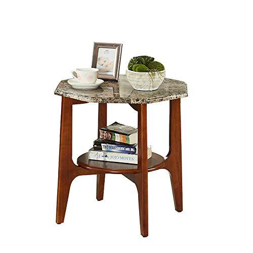 Zhuozi FUFU Tische Beistelltisch, 2-stufiger Beistelltisch mit Abstellraum Wohnzimmer, einfacher Montage-Marmor mit Holzrahmen Drop-Blatt-Tabelle (Farbe : Natural Marble)