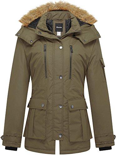 Wantdo giacca parka donna cappuccio in finta pelliccia rimovibile verde militare small