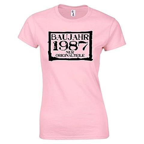 Baujahr 1987 Nur Originalteile Damen T-Shirt 30. Geburtstag Geschenk verpackt S Pink