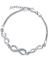 'Yumi Lok Mujer Pulsera de eslabones infinity Símbolo Amor Infinito Plata de ley 925 circonita pulsera de Charm pulsera cadena doble cadenas, 6.5 – 7.5 regulable