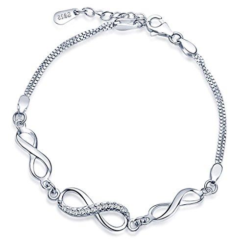 Yumilok - Pulsera de eslabones para mujer con símbolo del infinito, Plata de ley 925,circonita, longitud 16,5-19 cm aprox. (ajustable).