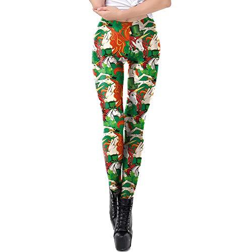 Patricks St Day Womens Kostüm - ZGDGG St.Patrick's Day Leggings Mode Lady Elastizität Skinny Printed Stretchy Pants -Irish Green Shamrock-Kostüm Leggings Workout Laufhose Yogahosen,M