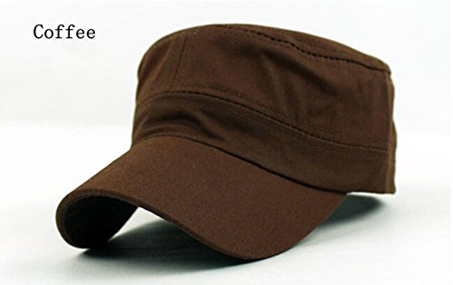 Mode Damen Herren Unisex Visor Cadet Military Cap aus Baumwolle Schwarz Sonnenhut, Kaffee HNAA