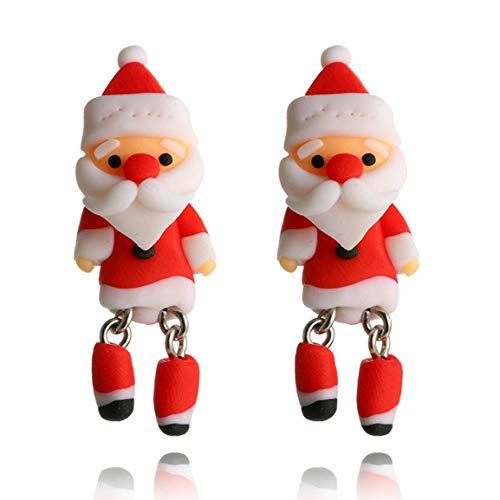 tige Ohrringe Weihnachten Kreative Cartoon dreidimensionale Santa Claus Soft Clay Ohrringe Weihnachten Geschenk für Frauen & Mädchen ()