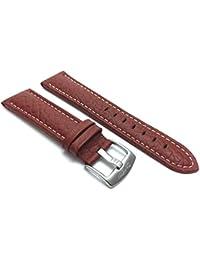 18mm Marrón Classic piel auténtica Buffalo Correa de reloj banda de patrón, con bordado de color blanco, nuevo.