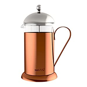 bonVIVO GAZETARO II French Press Coffee Maker, Stainless Steel Cafetiere With Glass Jug, Coffee Plunger With Filter, Manual Coffee Maker With Copper Finish, Coffee Press In Large (34 oz/1.0 l /1,000ml)