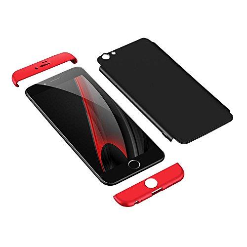 Coque iPhone 6 Plus /6S Plus, uiano® Protection 360 degrés Housse complète Protection 3 en 1 Combinaison Anti-Scratch PC Coque casque antidérapante ultra-mince Perfect Fit pour iPhone 6 Plus /6S Plus  Noir + Rouge