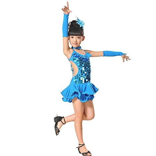 Jupe De Danse Fille,Daysing Jupe frangee pour Danse Latine Convient aux Petites Filles de Taille de 100cm Robe de Bal Costume de Danse -Bleu