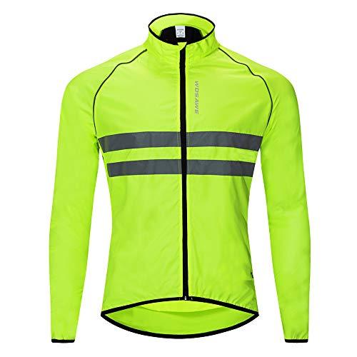 WOSAWE Giacca da Ciclismo da Uomo Ultraleggera Wind Stopper Cappotto Impermeabile Giacca Traspirante a Maniche Lunghe (BL215 Verde L)