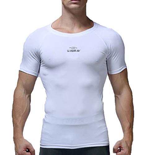 Toamen ,Abbigliamento Sportivo Uomo Running All'Aperto in Esecuzione Nuovo Estate Buona permeabilità d'Aria Fitness Asciugatura Rapida Compression Manica Corta(Bianca,XL)
