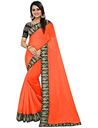 High Glitz Fashion Women's Orange Color Chanderi with Kalamkari Blouse and Border,With Unstitched blouse