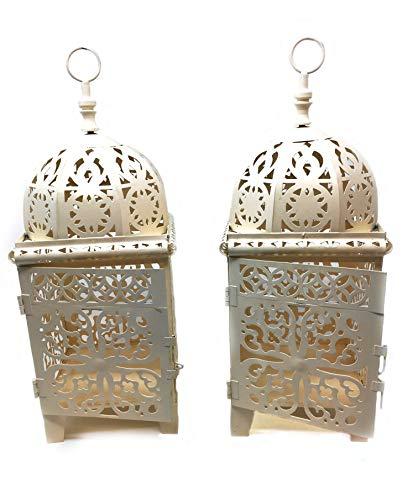 Marokkanische Laternen Set (Unbekannt Indoor Outdoor Creme Marokkanisches Design Set von 2Laternen Metall Kein Glas Kein Bruch)