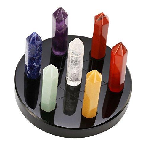 JSDDE 7Chakra Edelstein Mini Trommelstein einzigen Kristall Punkt Hexagramm Ständer Reiki Healing Kristalle Authentic Stress gratis Entspannungs Vorspeise Teller Black Obsidian,82 * 45MM