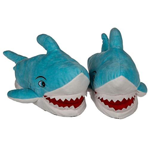 (Objektkult Plüsch Hausschuhe 'Hai' für Erwachsene, blau-weiß-rot, mit Hai-Zähnen aus Stoff, lachender Hai-Kopf, Rutschfeste Sohle. Verfügbare Größen 37/38, 39/40, 41/42. Größe:41/42)