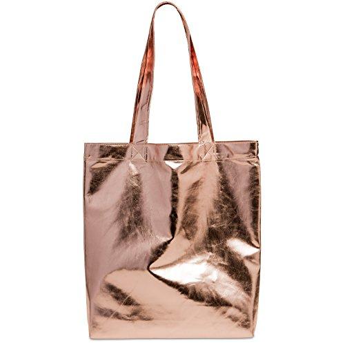 CASPAR TS1047 Damen metallic Shopper / Schultertasche Rosa