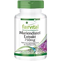 Mariendistel Extrakt 750mg - GROSSPACKUNG für 3 Monate - VEGAN - HOCHDOSIERT - 90 Tabletten - standardisiert auf 80% Silymarin