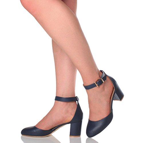 Damen Mitte Blockabsatz Knöchelriemen Schnalle Elegant Pumps Sandalen Größe Dunkelblau Matt